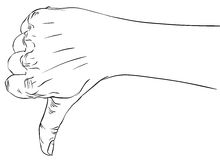 Thumb down hand sign, detailed black and white lines illu. Stration, hand drawn royalty free illustration