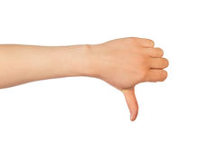Thumb down hand sign Stock Photography