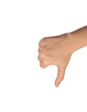 Thumb down isolated with white background. Pic of thumb down isolated with white background Royalty Free Stock Image