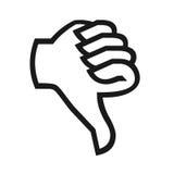 Thumb down symbol. Closeup of thumb down symbol on white background Stock Photos