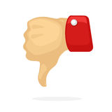 Thumb down symbol of dislike. Vector illustration in cartoon style. Thumb down symbol of dislike. Decoration for greeting cards, prints for clothes, posters Stock Image