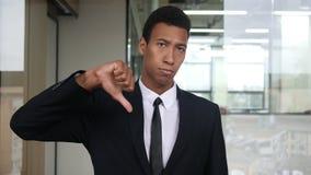 Thumb Down, Unsatisfied Black Businessman. Creative Designer stock video footage
