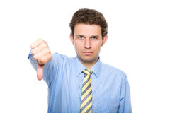 Thumb down, young businessman, isolated Stock Photo