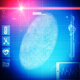 Thumb finger print with laser ray and abstract signs. On blue grid background Stock Photos