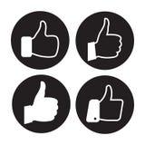 Thumb icons set. Black on a white background stock illustration