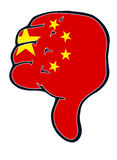 Thumb judgement down pressure China Stock Image