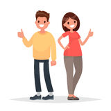 Thumb lifted up. Cool. Man and woman show approval gesture. Vect. Or illustration in a flat style Royalty Free Stock Photos