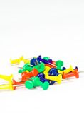 Thumb pins. Colorful thumb pins on white Stock Photography