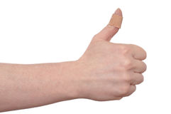 Thumb with plaster Royalty Free Stock Image