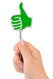 Thumb sign in hand. Isolated on white background Royalty Free Stock Photo