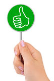 Thumb sign in hand Royalty Free Stock Photo