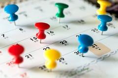 Thumb tack pins on calendar as reminder. Various color thumb tack pins on calendar as reminder royalty free stock images