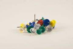 Thumb Tacks. Variety of thumb tacks in different colors Stock Photo