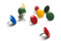Thumb tacks isolated on white Stock Photos