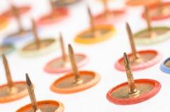 Thumb tacks on white background Stock Image