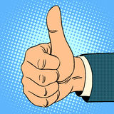 Thumb top gesture. Hitchhiking approval quality pop art retro style royalty free illustration