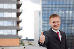 Thumb Up. Young Happy Businessman Showing Thumb Up, Smiling Stock Photo