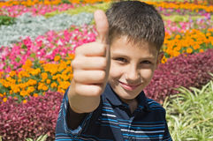 Thumb up!. A teen is holding his thumb up sitting in the flowers Royalty Free Stock Photography