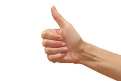 Thumb up. Woman's hand showing thumb up Stock Photo