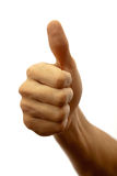 Thumb up. Man's hand with thumb up on a white background Stock Image