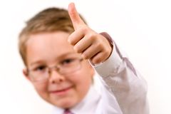Thumb up. Image of childish hand showing thumb up Stock Photos