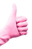 Thumb up. Symbol in rubber glove Royalty Free Stock Image
