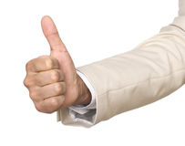 Thumb Up. The thumb of a hand of the businessman shows that all is excellent Stock Photography