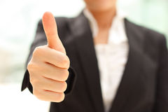 Thumb up. Business woman shows thumb up Royalty Free Stock Images