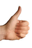 Thumb up!. A woman's hand with her thumb up stock image