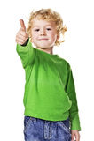 Thumb up!. Portrait of beautiful little boy giving you thumb up over white background Stock Image