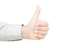 Thumb up. Hand sign isolated on white background Stock Photography
