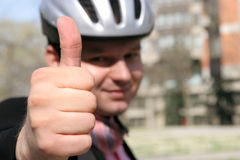 Thumb up. Man with a helmet holding thumb up Royalty Free Stock Photography