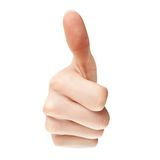 Thumb up. Hand with thumb up, view from the front Stock Image