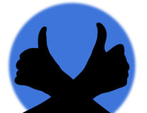 Thumb up. Silhouette of Hand with thumb up stock illustration