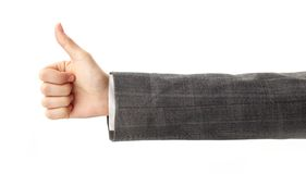 Thumb up. Image of human hand showing thumb up in isolation Royalty Free Stock Images
