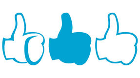 Thumb up. Set. Doodle style. Vector royalty free illustration
