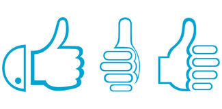 Thumb up. Set. Doodle style. Vector vector illustration