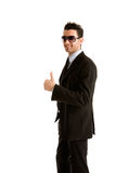Thumb up. Businessman with thumb up. withe background Stock Photo