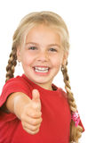 Thumb up. Little giving thumbs up sign on white background Royalty Free Stock Photos
