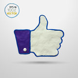 Thumb up applique. Plasticine modeling. Thumb up applique. Vector illustration Royalty Free Stock Images