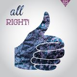 Thumb up applique in watercolor on grey background Royalty Free Stock Photo