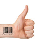 Thumb up with barcode. Isolated on white royalty free stock photos
