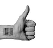 Thumb up with barcode Stock Image