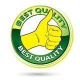 Thumb Up Best Quality Logo Illustration. Vector illustration of thumb up best quality logo, green and yellow circle isolated on white vector illustration