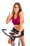 Thumb up for bicycle training at home Royalty Free Stock Photo