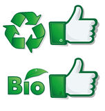 Thumb up bio & eco Royalty Free Stock Photography