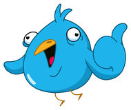 Thumb up bird. Funny blue bird showing thumb up Royalty Free Stock Images