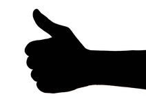 Thumb up black. Isolated on a white background,From photograph Stock Photos
