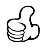 THUMB UP. Black and white Thumb up isolated on white stock illustration