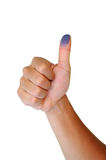 Thumb Up With Blue Fingerprint. Side Position On White Isolated Background Stock Photos